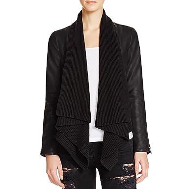 eb6350e22 Bardot Women's Izzy Drape Front Faux Leather Jacket in Black US Size ...