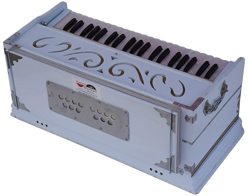 Harmonium White Pro Grade By Kaayna Musicals, 11 Stop- 6 Main & 5 Drone, 3½ Octaves, Coupler, Gig Bag, Bass/Male Reed Tuned- 440 Hz, Suitable for Peace, Yoga, Bhajan, Kirtan, Shruti, Mantra, etc by Kaayna Musicals (Image #8)