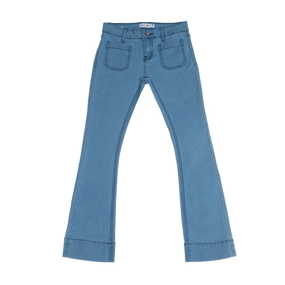 Teen Gs Big Girls Skinny Flair Bootcut Denim Jeans With Front Pockets Mid Blue KP13
