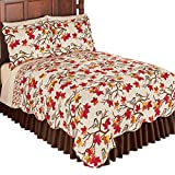 Collections Etc Fall Chickadees on Branches with Leaves All Over Reversible Quilt, Red, King