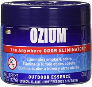 Ozium Oziu Regular Smoke & Odors Eliminator Gel. Home, Office and Car Air Freshener 4.5oz (127g), Outdoor Essence Scent (4 Pack)