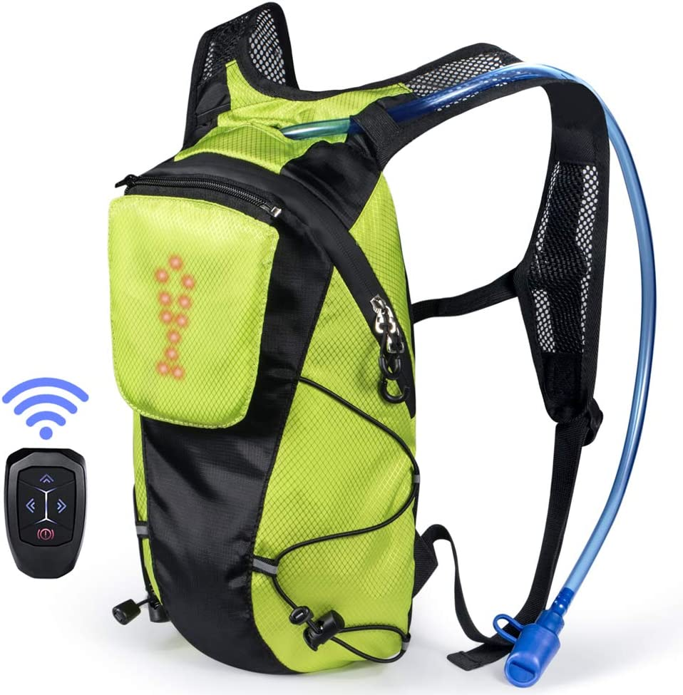 ECEEN LED Turn Signal Backpack Light Reflective Vest 18L Capacity Outdoor Sports Bag Flashing Warning Lamp Security Pack with 1L Bladder Bag Wireless Remote Control for Safety Cycling