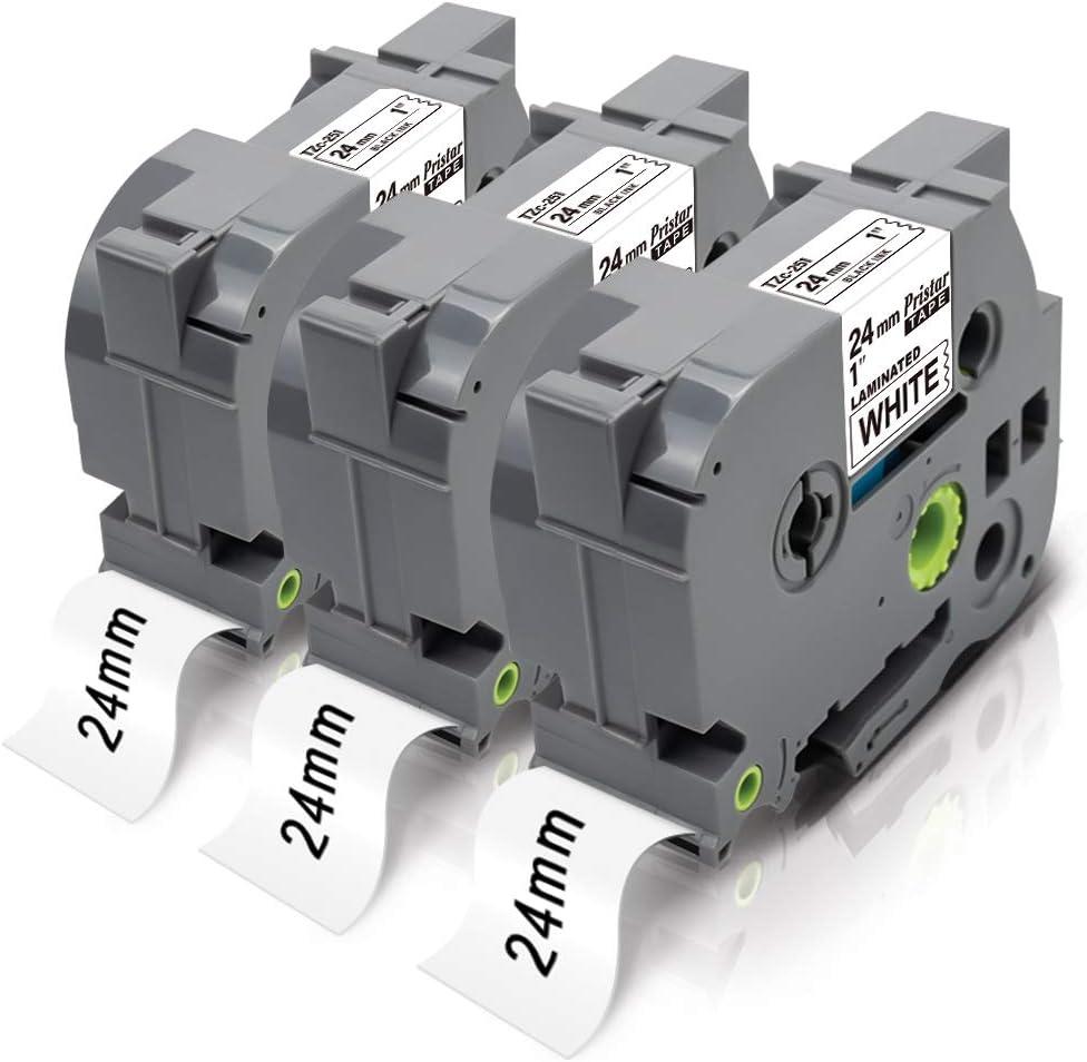 Pristar 4X Pristar Nastro compatibile come ricambio per Brother P-Touch TZe-251 TZe251 laminato nero su bianco 24 mm nastri per Brother P-Touch PT-P700 2430 D600 D600VP 9700PC P750W P710BT E500VP