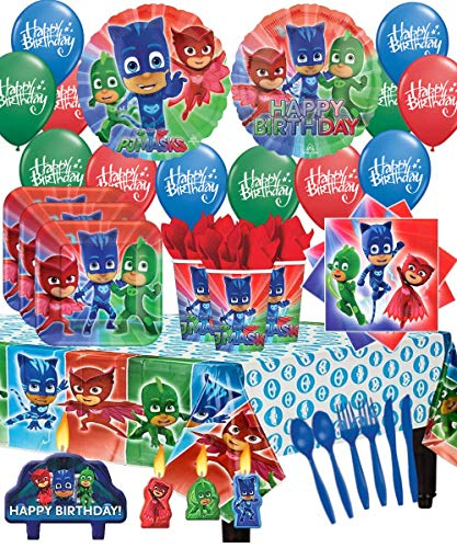 (The Ultimate PJ MASKS Party Pack for 16 with Dinner Plates, Napkins, Cups, Cutlery, Candles, Tablecover, and Balloon)