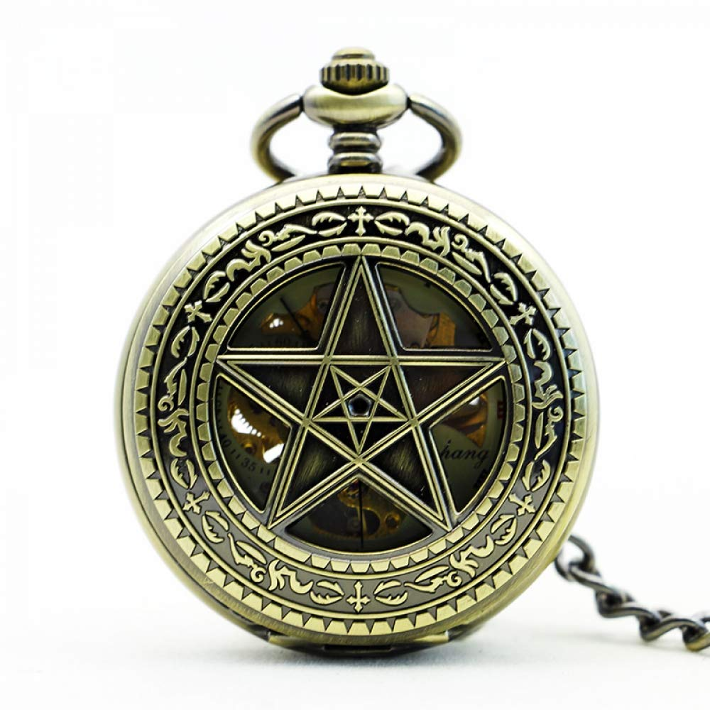 DYH&PW Classic Five Pointed Star Hollow Bronze Clamshell Vintage Fully Automatic Mechaincal Pocket Watch Man Women Creative Gift,A