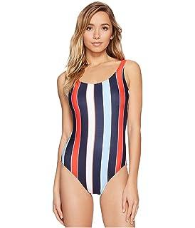 dd4dee275f956 Tommy Hilfiger Women s Speedy Stripe Deep Scoop Neck Low Back One Piece  Swimsuit