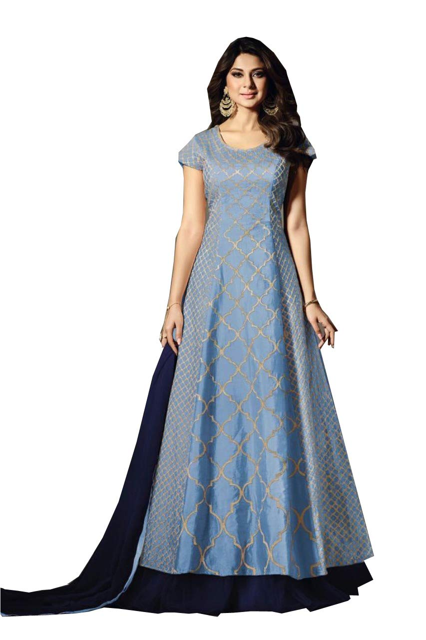 Indian Pakistani Long Gown Type and Party wear Outfit Salwar Kameez for Women Zoya (Sky Blue, S-38)