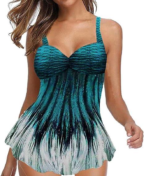 DEELIN Trajes de baño para Mujeres Bikini Trikini Ropa de baño bañadores Más Tamaño Imprimir Tankini Swim Jumpsuit Acolchada Ropa de Playa: Amazon.es: Ropa y accesorios