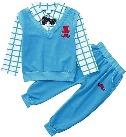 Jchen TM Toddler Kids Baby Girls Boys Outfit Bowknot T-Shirt Long Pants Summer Set For 0-3 T
