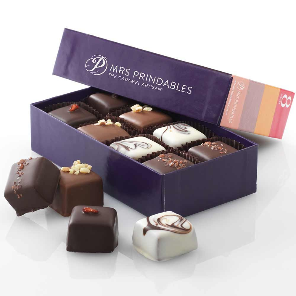 Assorted Eight-Piece Natural Chocolate Covered Caramels