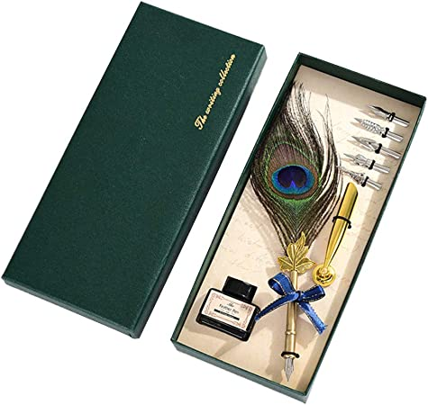 MYA - Juego de 1 Estuche para bolígrafo, diseño Retro Hecho a Mano, diseño Antiguo, Incluye bolígrafo y Pluma de Pavo Real con Tinta, para caligrafía y Escritura: Amazon.es: Hogar
