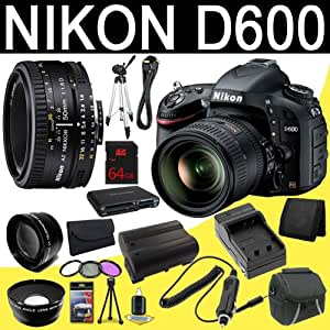 Nikon D600 24.3 MP CMOS FX-Format Digital SLR Camera with 24-85mm f/3.5-4.5G ED VR AF-S Nikkor Lens + Nikon 50mm f/1.8D AF Nikkor Lens + EN-EL15 Replacement Lithium Ion Battery + External Rapid Charger + 64GB SDHC Class 10 Memory Card + 52mm Wide Angle Lens + 52mm 2x Telephoto Lens + 52mm 3 Piece Filter Kit + Mini HDMI Cable + Carrying Case + Full Size Tripod + Multi Card USB Reader + Memory Card Wallet + Deluxe Starter Kit