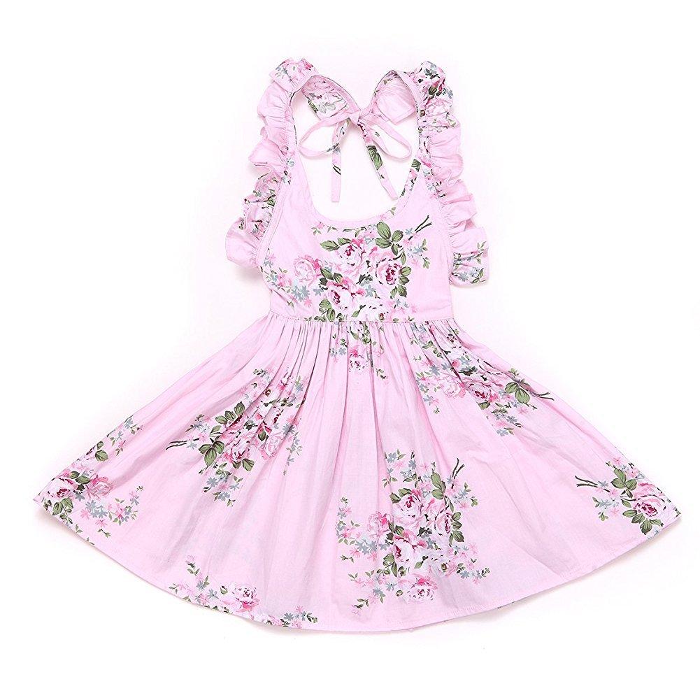 Weileenice Baby Girls' Vintage Floral Summer Dresses Beach Dress 6-7T