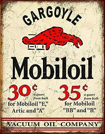 Amazon.com: Mobil Gárgola Distressed Retro clásico Tin Sign ...