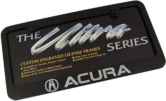Acura Logo /& Wordmark Bottom Engraved Black Powder Coated License Plate Frame