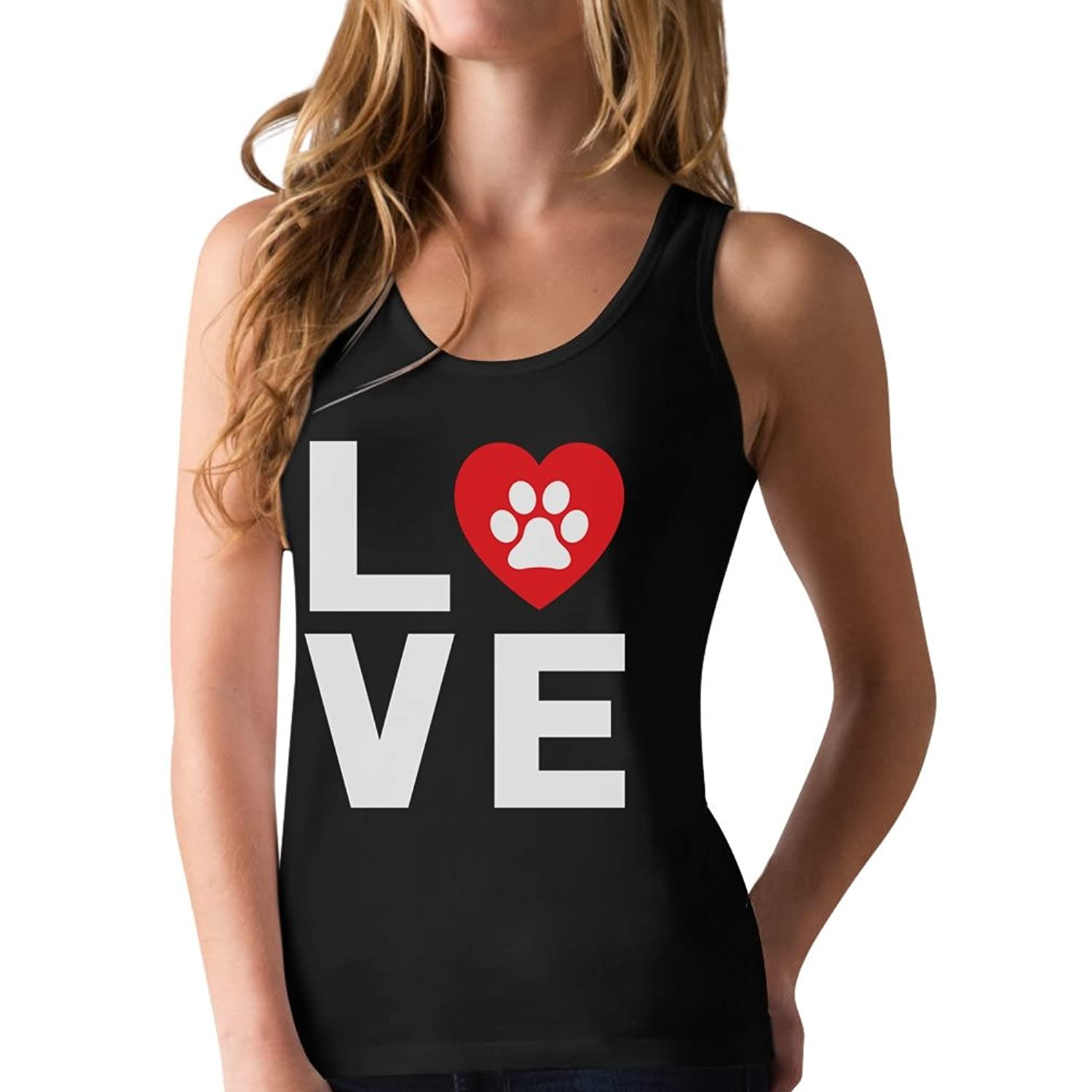 Animal Lover Dog Paw Print - Love Dogs My Best Friend Racerback Tank Top