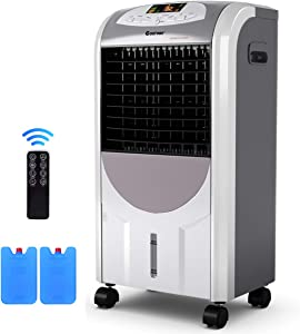 "COSTWAY Air Cooler and Heater, Compact Portable Air Conditioner with Fan Filter Humidifier Ice Crystal Box Remote Control, Air Cooler and Heater for Indoor Home Office Dorms(29.5"")"