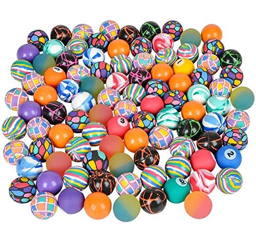 Neliblu Bouncy Super Ball Assortment 100 High Bounce Balls in Assorted Colors and Designs