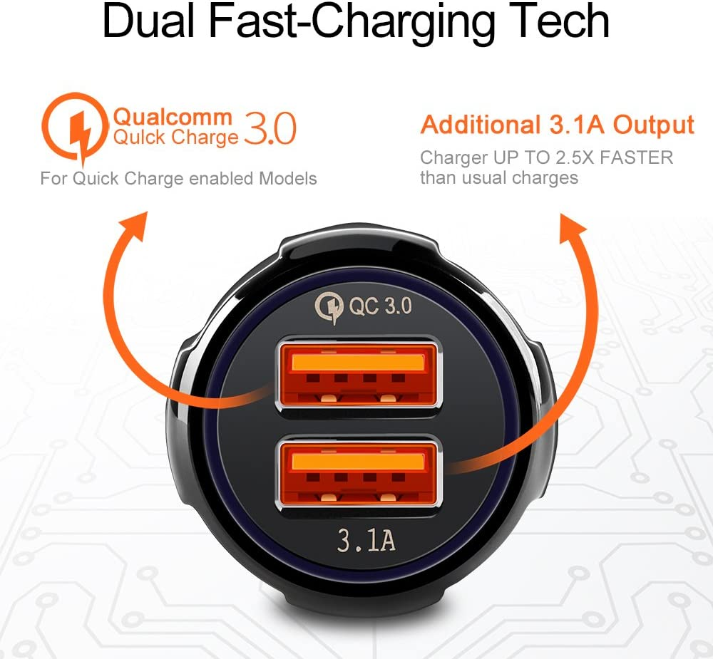 UCCHI Quick Charge 3.0 Car Charger Adapter 2 Port Car Quick Charger for iPhone X 8 Plus Dual USB Car Charger Black Samsung Galaxy S Series with Micro USB Data Sync Charging Cable as Bonus