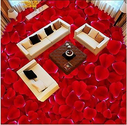 Lwcx Pvc Self Adhesive Waterproof Floor Wallpaper Romantic Red Rose