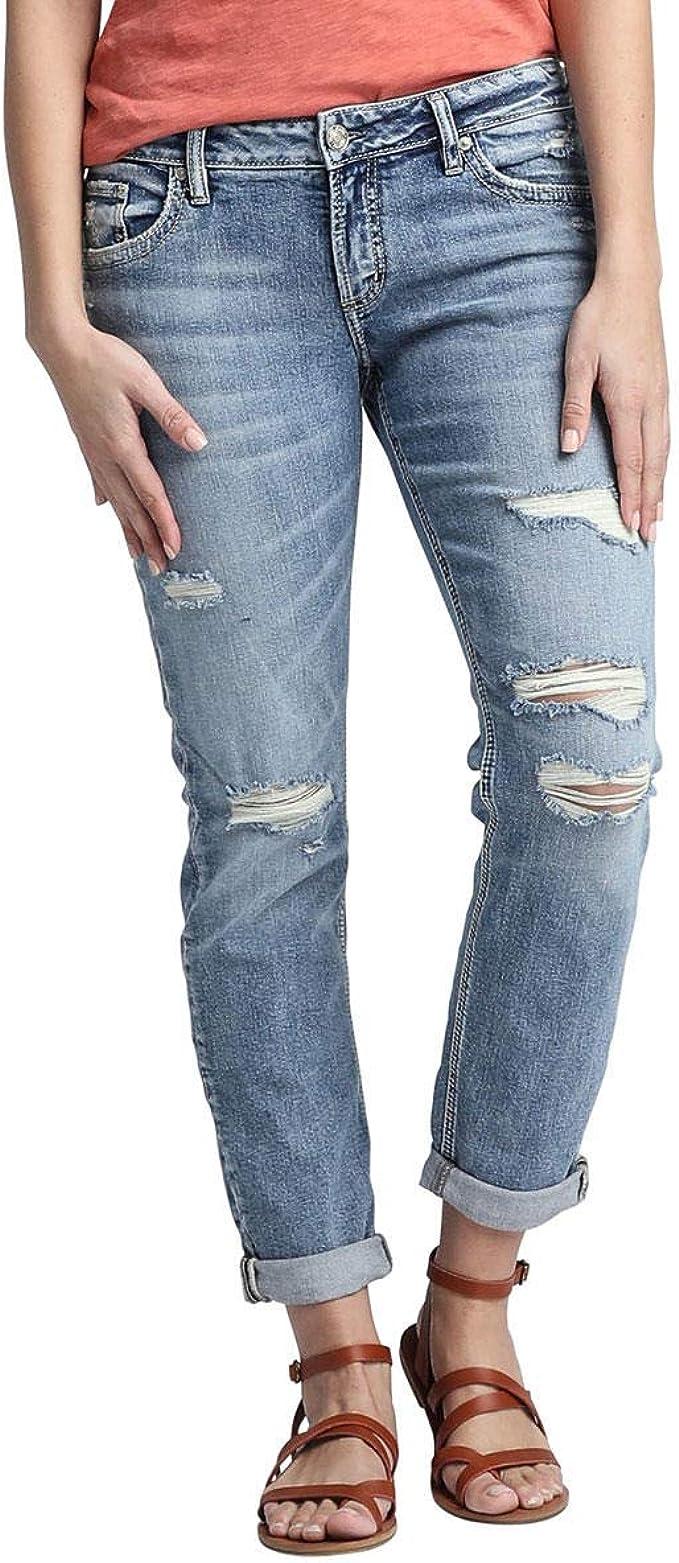 Silver Jeans Co Womens Boyfriend Mid Rise Jeans