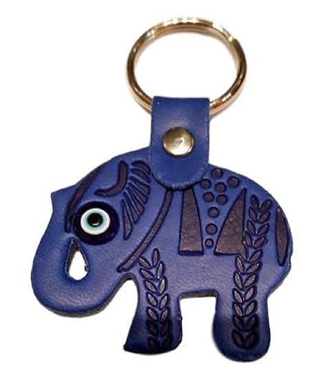 Llavero Ojo Turco con Elefante en Piel repujada (Azul ...
