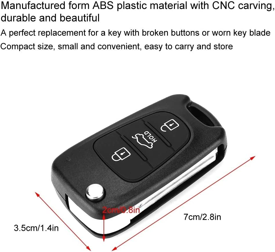 Remote Control Car Key Cover Compatible with KIA Rondo 2006-2011 Sportage 2010-2013 Soul 2009-2013 Rio 2011-2013 Vobor 3 Button Flip Remote Key Fob Remote Key Case