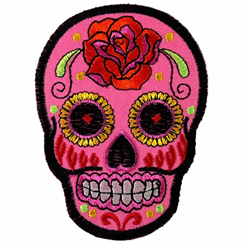 1 X Pink Rose Sugar Skull Awesome Cool Embroidered Iron On Patches #WITH FREE GIFT (Free Light Motion)