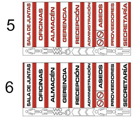 Pack 11 unidades Señaletica rojo negro en Panel sandwich de aluminio blanco 28,7x7,