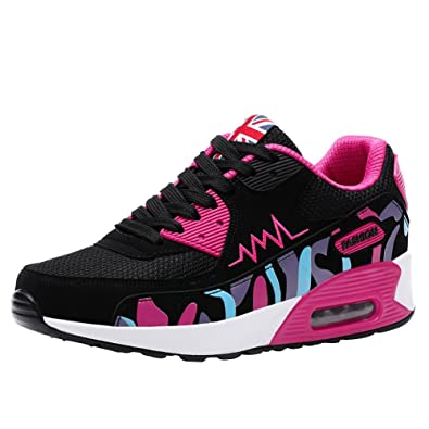 075871acc9d55 wealsex Baskets Chaussures Jogging Course Gym Fitness Sport Lacet Sneakers  Style Running Multicolore Respirante Femme(