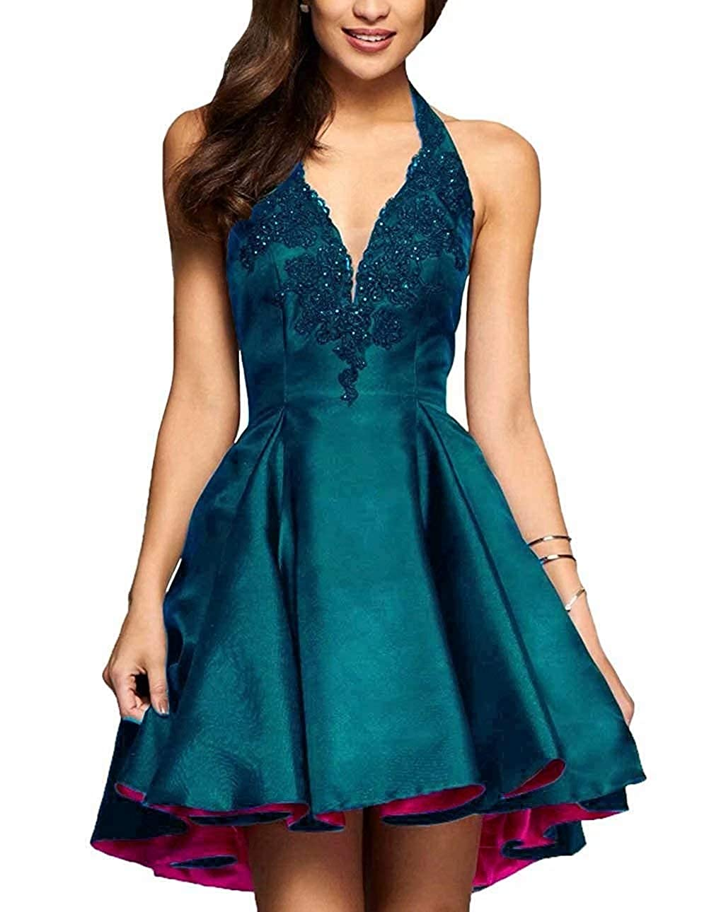 Teal Green Ubride 2019 Short A line Beaded Lace Applique Prom Dress Satin Halter Homecoming Dress Pockets