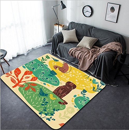 Vanfan Design Home Decorative cats birds and flowers Modern Non-Slip Doormats Carpet for Living Dining Room Bedroom Hallway Office Easy Clean Footcloth by vanfan