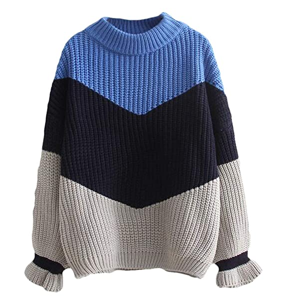 9834429b55 FRPE Women Ruffle Sleeve Striped Hipster Thicken O Neck Knitted Pullover  Sweater Blue OS at Amazon Women's Clothing store: