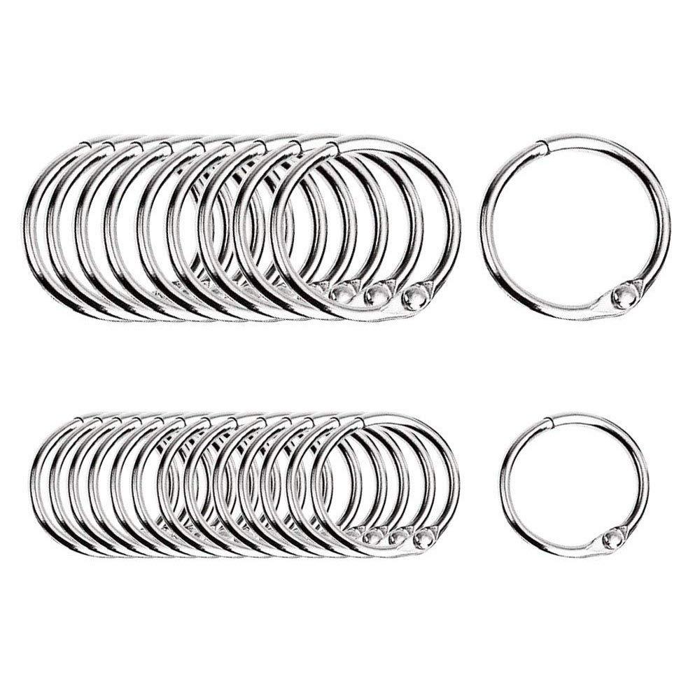100 pezzi Metallo Anelli per Fogli Raccoglitore Libro Foglie Sfuse, anelli, anello portachiavi, diametro interno (15 mm, 20 mm) YunLi