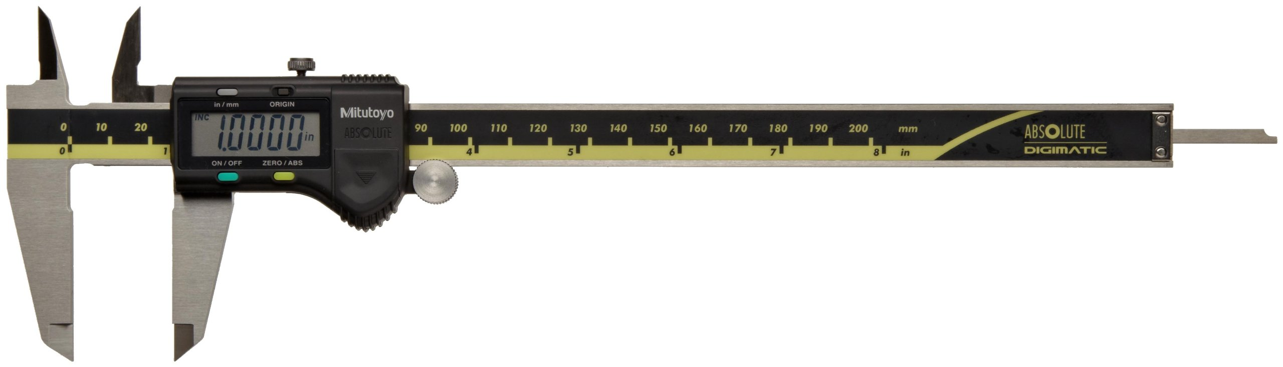 Mitutoyo ABSOLUTE 500-197-20 Digital Caliper, Stainless Steel, Battery Powered, Inch/Metric, 0-8'' Range, +/-0.001'' Accuracy, 0.0005'' Resolution
