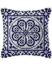 LAPATAIN Latch Hook Kits for DIY Throw Pillow Cover,Carpet Pattern Needlework Cushion Cover Hand Craft Crochet for Great Family 15.7X15.7inch