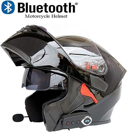 SOMAN Casque Moto Repliable Avant Casque Moto Bluetooth,Norme de s/écurit/é Dot//Musique Bluetooth//r/éponse Automatique//Double Miroir Anti-bu/ée avec FM,BrightBlack,M57CM~58CM