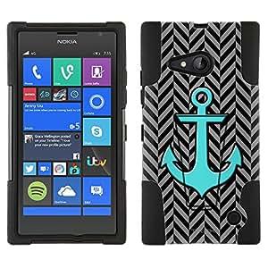 Microsoft Lumia 735 Hybrid Case Anchor on Chevron Mini Pewter Black 2 Piece Style Silicone Case Cover with Stand for Nokia Lumia 735