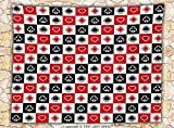 Casino Decorations Fleece Throw Blanket Card Suits Advertising Leisure Luck Gaming Entertainment Repeat Illustration Throw