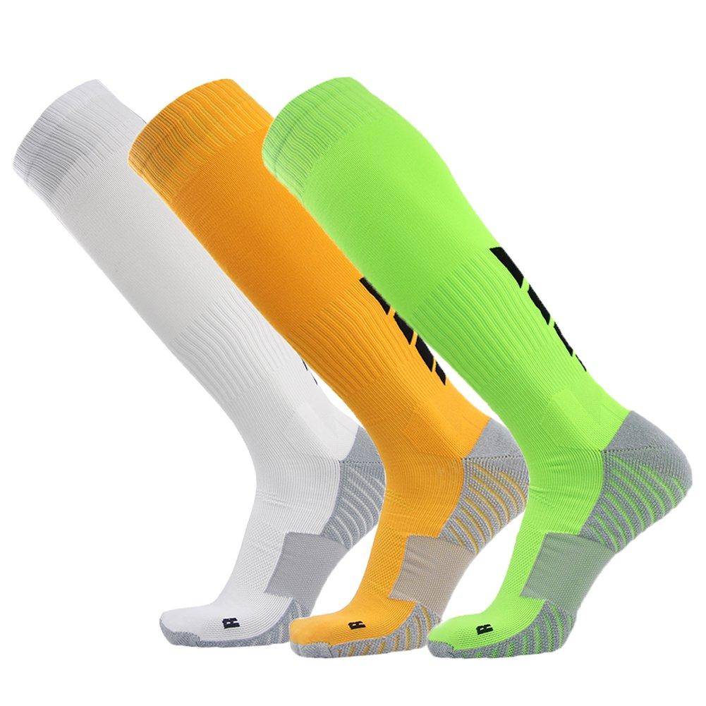 サッカーソックス、3streetユニセックスアスレチック圧縮ソックス1 / 2 / 3 / 4 / 6 / 10ペア B01AN3HJTS L(Fit For US 10-14)|3-Pairs white Yellow Green 3-Pairs white Yellow Green L(Fit For US 10-14)