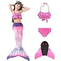 AGUDOU Cola de Sirena Niña,Sirena Baño,Disfraz de Bikini Princesa Sirena para Niñas, para Fiesta de Natación Cosplay