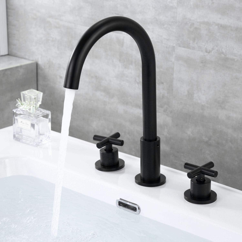 2 Cross Handles 3 Hole High Arc Lavatory Faucet 8 Inch Widespread Bathroom Sink Faucet Matte Black By Wathels Amazon Com
