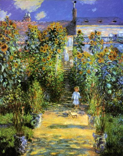 THE ARTIST'S GARDEN AT VETHEUIL 1880 CHILDREN FLOWERS BY CLAUDE MONET 16