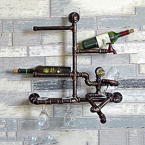FAZH European Retro Industry Iron Pipe Wall Lamp Creative Home DIY Shelf Wine Rack Punk Steam Wall Light Bar Kitchen Practical Decorative Lighting 60CM 58CM 25CM Teardrop White Wine