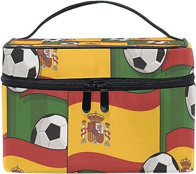 Funda de Maquillaje con patrón de fútbol de España Bolsa de cosméticos, Bolsas de Maquillaje Ajustables Bolsa de Aseo impermeable-1US8-4WI: Amazon.es: Equipaje