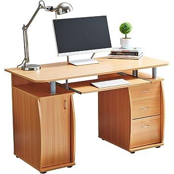RayGar Deluxe diseño ordenador escritorio con armario y 3 cajones ...