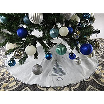 395 White Christmas Tree Skirt With Silver Sequin Trim