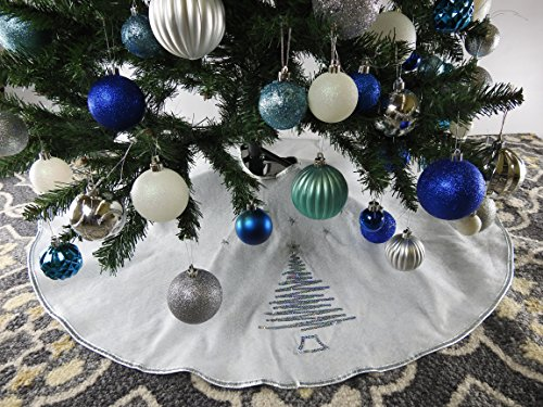 39.5' White Christmas Tree Skirt with Silver Sequin Trim