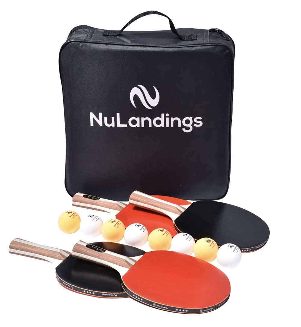 NuLandings Ping Pong Ball and Paddle Set - 4 Rackets, 8 Balls and Portable Case - Indoor/Outdoor Table Tennis, 4-Star Paddles for Beginners/Professionals – Bundle Accessories in Ping-Pong Racquet Bag