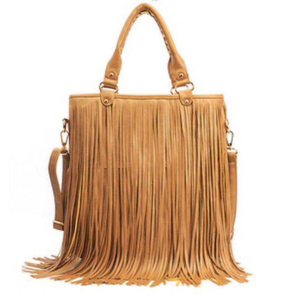 Mocha KINDOYO Women Fringe Tassel Shoulder Bag Crossbody Bag Handbag Fashion High Quality